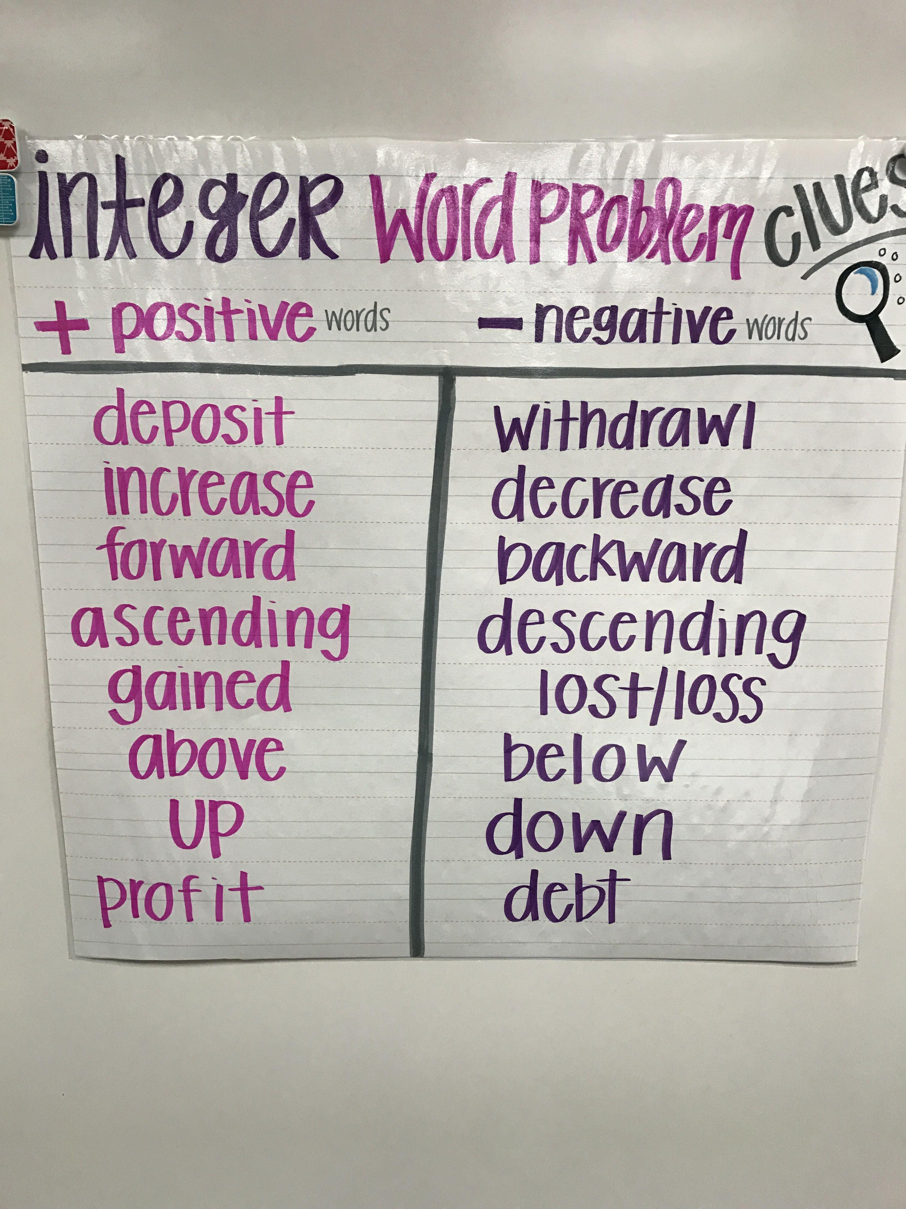 Integer word problems, integers, integer clues, positive, negative, 6th  grade math
