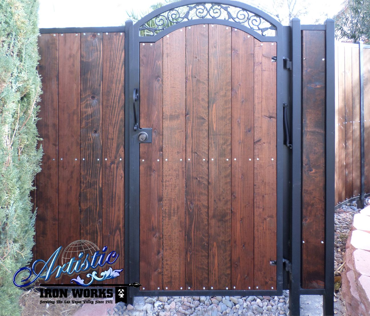 Galvanized steel frame drive gate fence dallas wood gate - Wrought Iron And Wood Gate And Fence