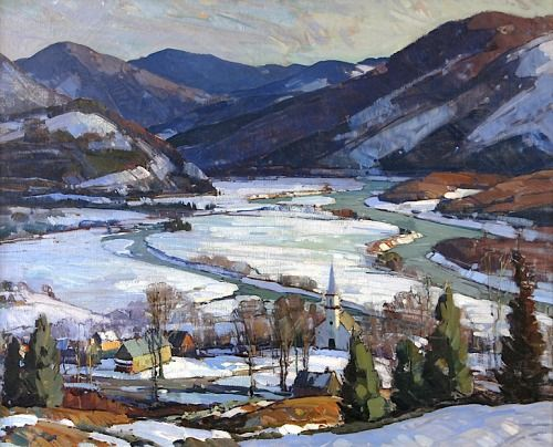 Aldro Thompson Hibbard 1886 1972 The West River Valley Oil On Canvas 40 X 50 In Oil Painting Landscape Winter Painting Landscape Paintings