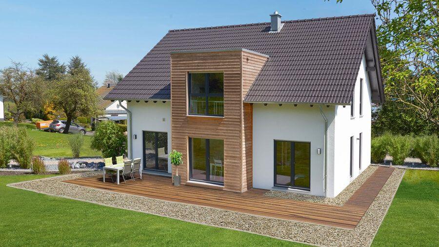 Fingerhut Einfamilienhaus Satteldach weiß verputz mit
