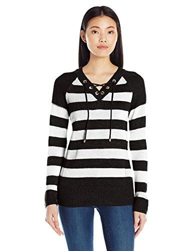be0a9f2667 Calvin Klein Women s Striped Lace up Sweater