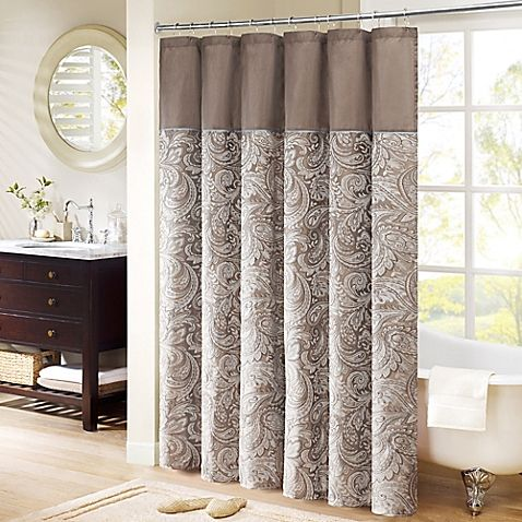 Madison Park Aubrey Extra Long 72 Inch X 96 Inch Shower Curtain In Brown Paisley Shower Curtain Long Shower Curtains Extra Long Shower Curtain
