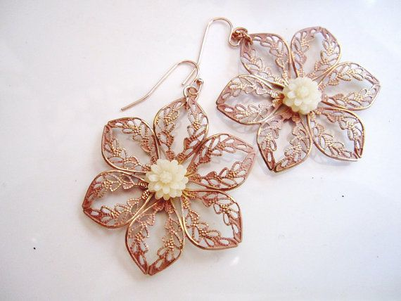 Rose Gold Flower Earrings White Flower Mum Filigree by gardendiva