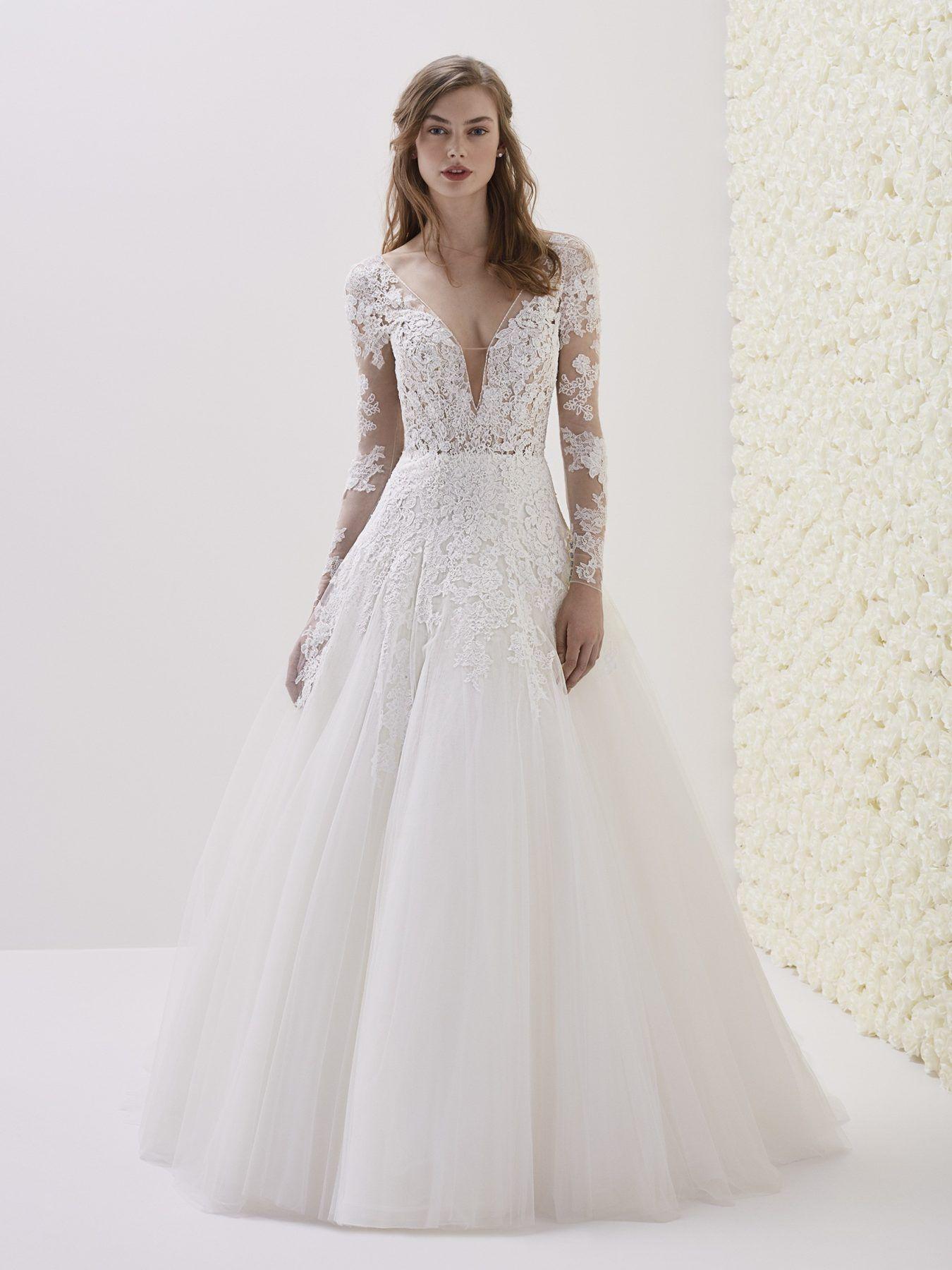 Deep V Neck Long Sleeve Lace A Line Wedding Dress 3 4 And Long