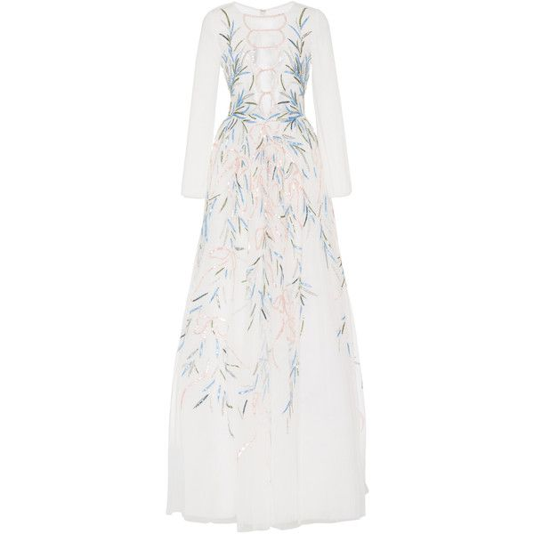 Georges Hobeika Sequin Embroidered Tulle Gown ($7,750) ❤ liked on Polyvore featuring dresses, gowns, white, white 3 4 sleeve dress, white ball gowns, white evening dresses, sequin evening gowns and sequin dress