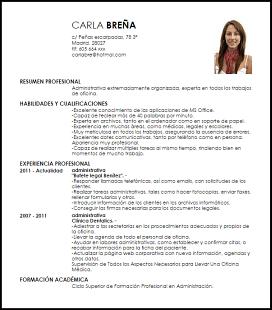 Modelo Curriculum Vitae Administrativa Patron Curriculum