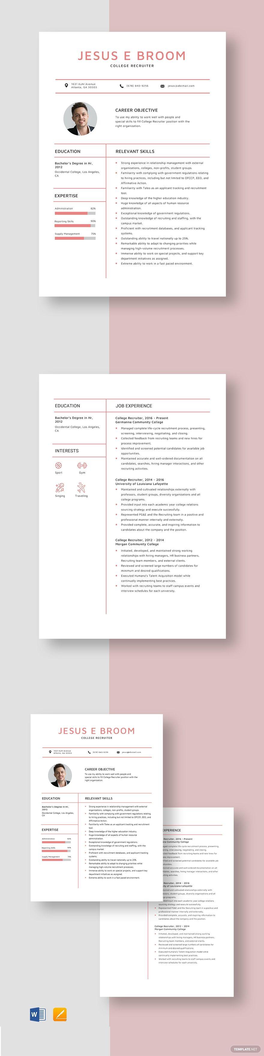 College recruiter resume template in 2020 resume