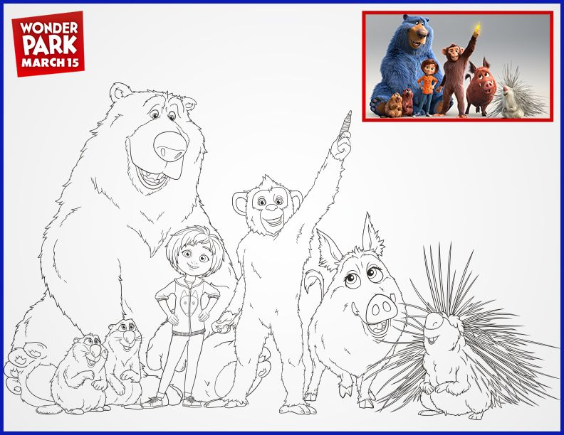 Meet the WonderPark team! Park, Coloring pages