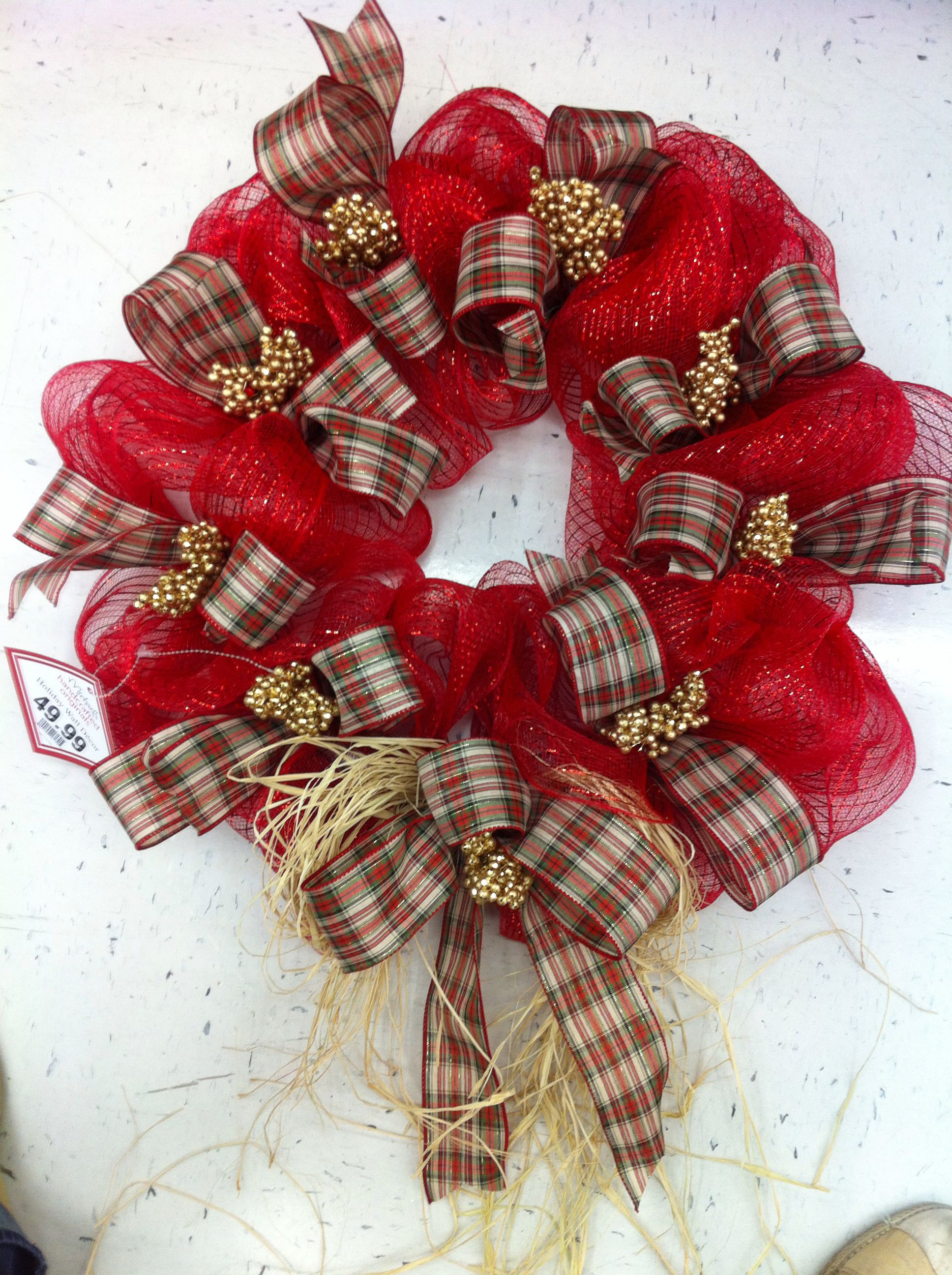 christmas mesh wreath by kristymichaels