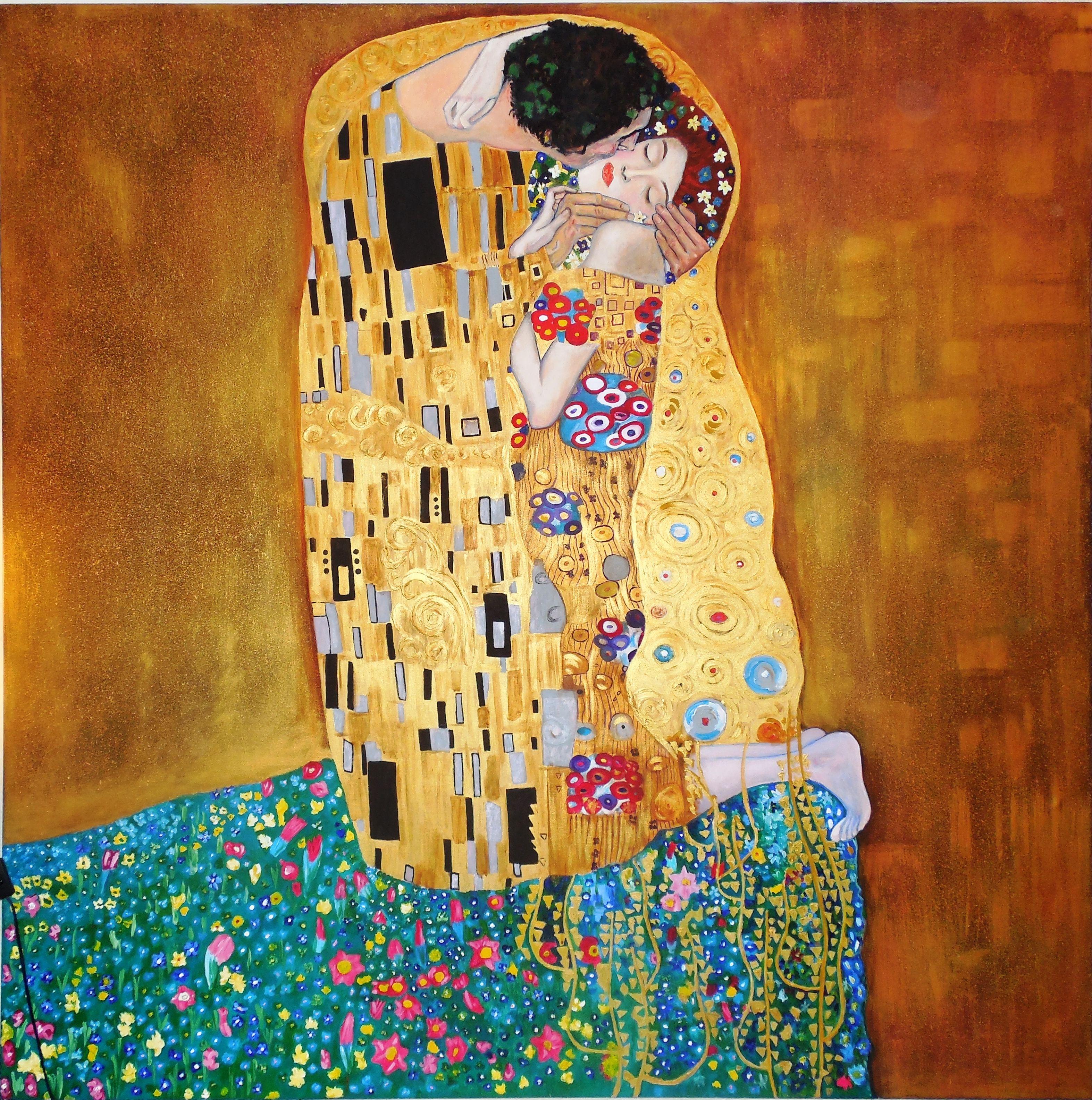 El Beso De Klimt Replica De Tamaño Exacto Del Original 180 Cms X 180 Cms Gema Silva Técnica Mixta Acrílico óleo Pasta A Klimt El Beso Gustav Klimt Klimt