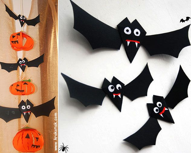 хартиен прилеп за Хелоуин Halloween Pinterest Paper bat, Bats - halloween crafts decorations