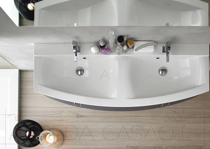 Vasca Da Bagno Doppia Prezzi : Arredo bagno curvo top doppia vasca ly prezzo arredacasaonline