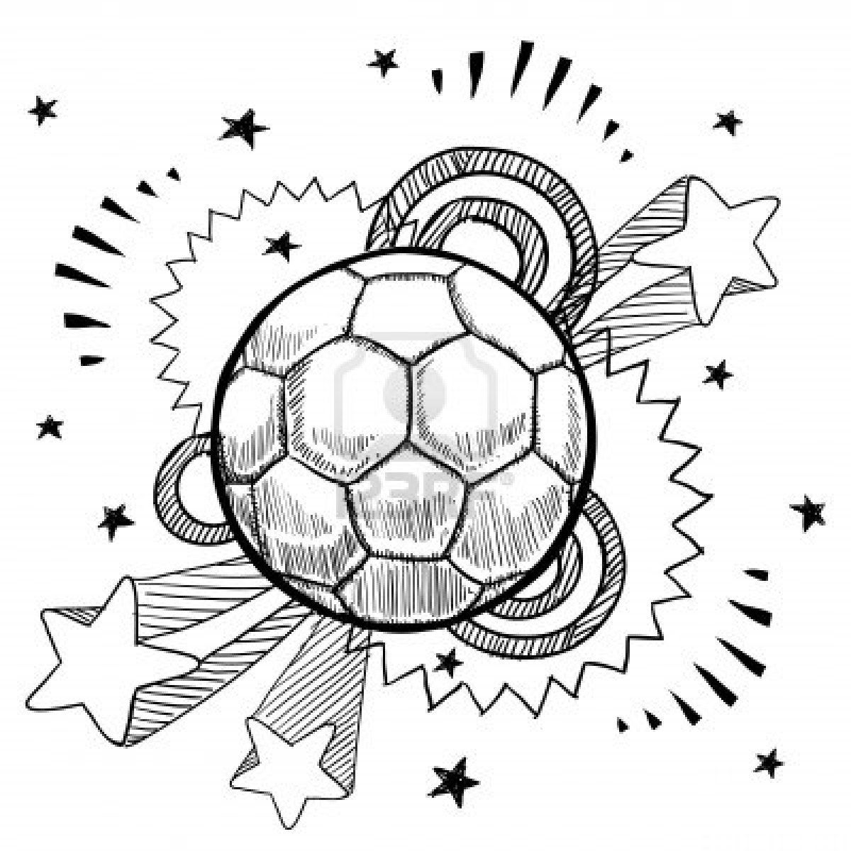 Doodle Style Soccer Or Futbol Sports Illustration With Retro Sports Drawings Sport Illustration Doodles
