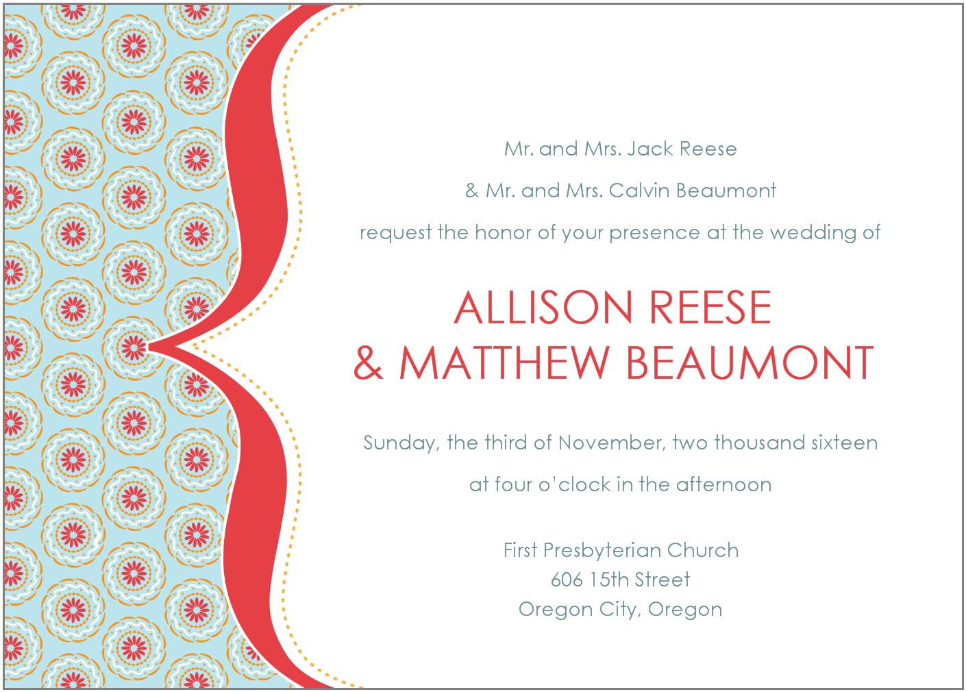 Informal Wedding Invitation Wording Invitation Sample
