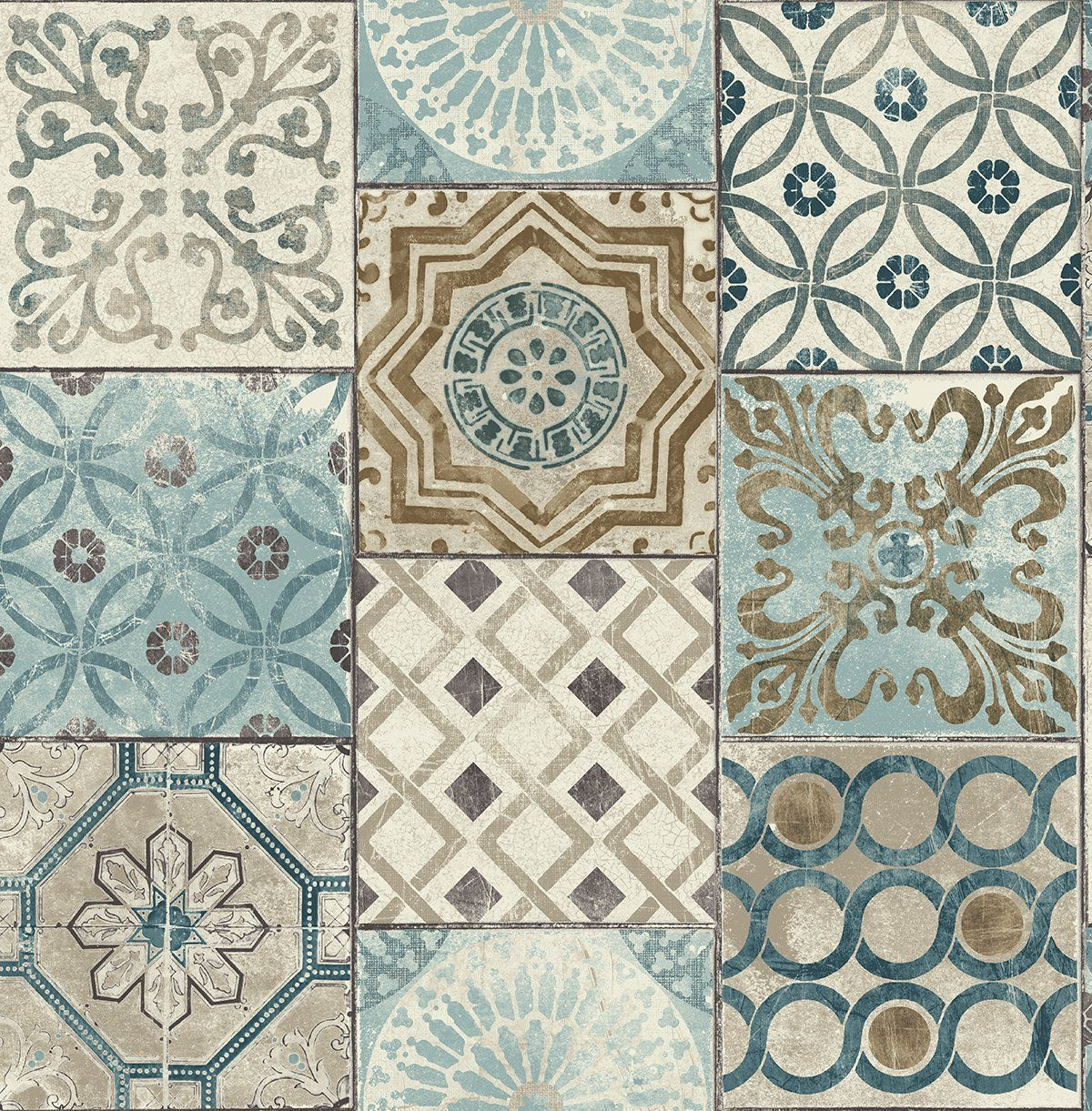 Nextwall Moroccan Style Peel And Stick Mosaic Tile Wallpaper Blue Copper Grey Amazon Com Patchwork Tiles Stick On Tiles Moroccan Tile