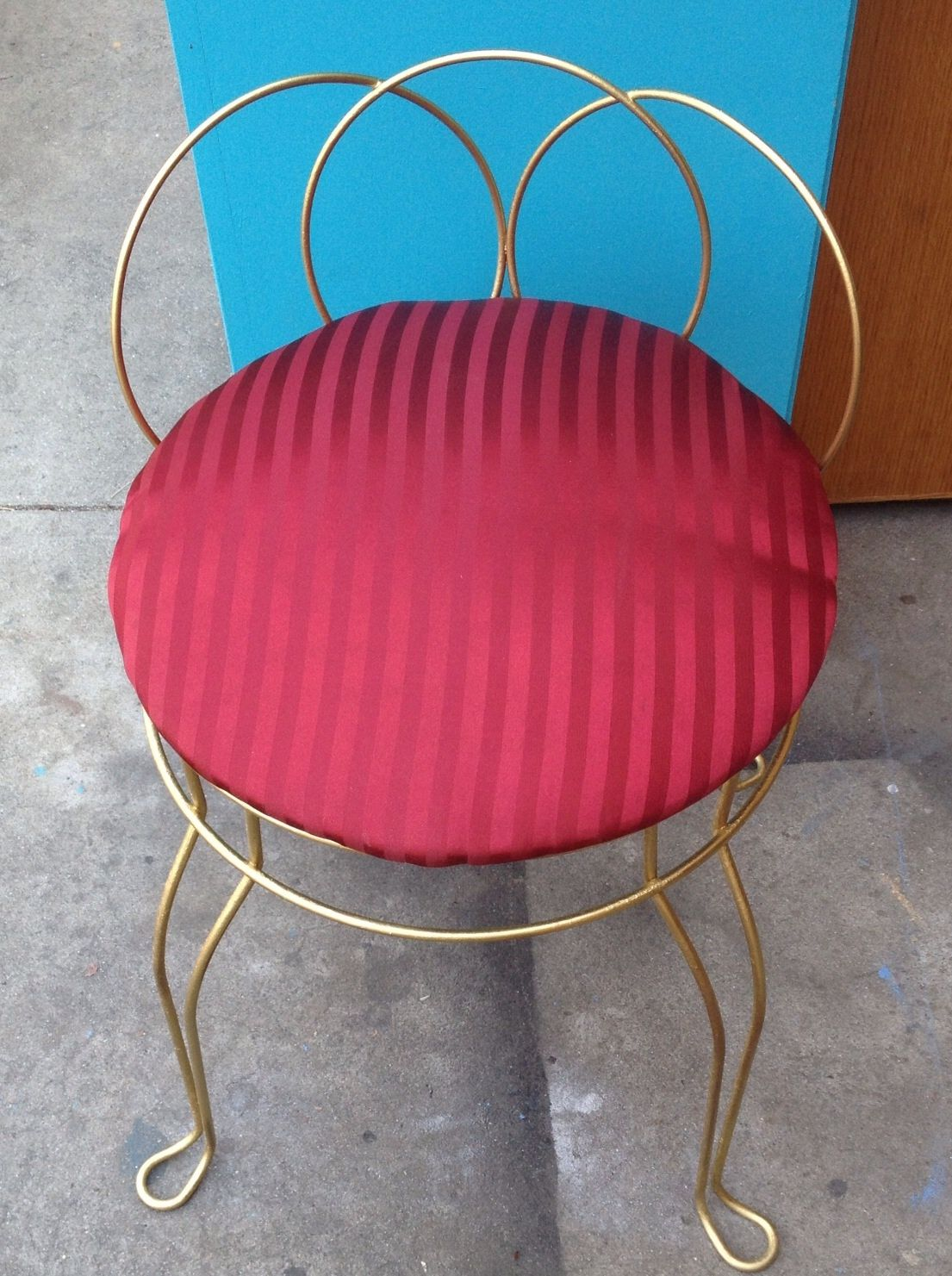 Vintage Vanity chair. Gold frame with burgundy striped upholstery ...