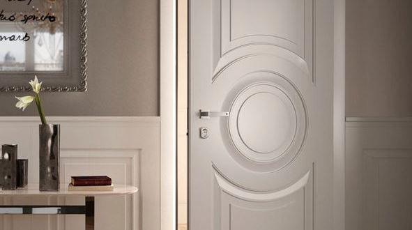 Beautiful and delicate natural wooden door