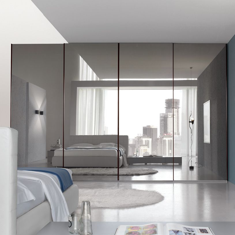 Bedroom, : Inspiring Large Master Bedroom With Mirrored Sliding Door Closet  Design And Gray Interior Theme