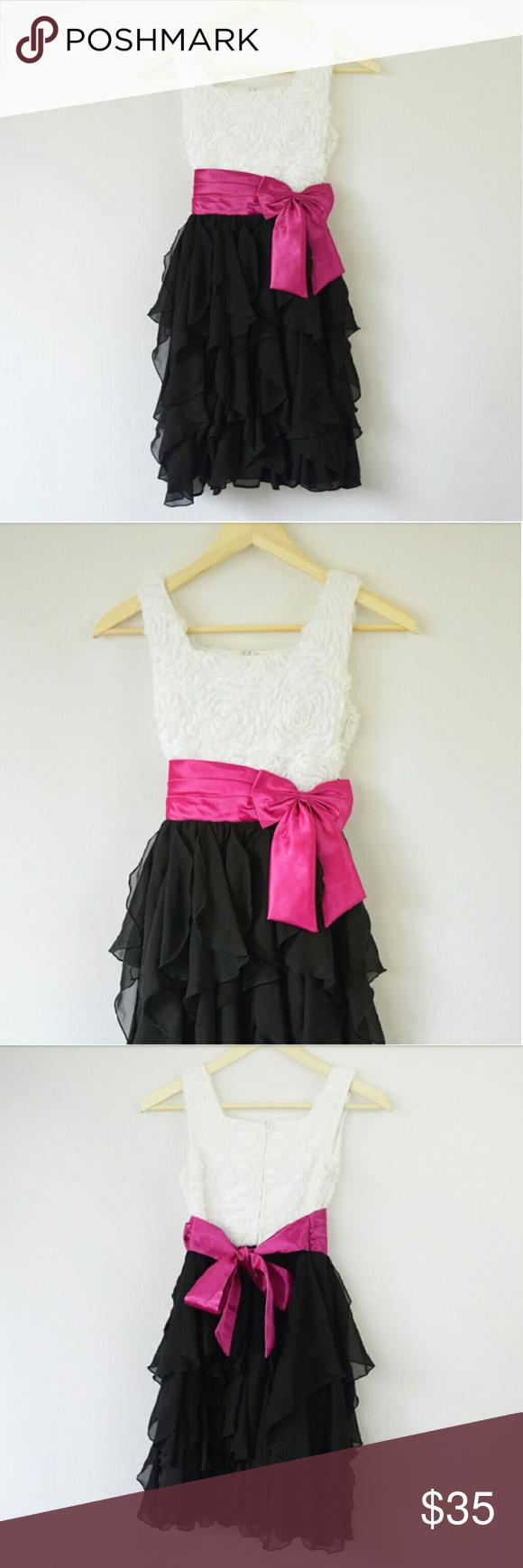 Black white ruffle dress pink ribbon bow kids ruffle formalu and