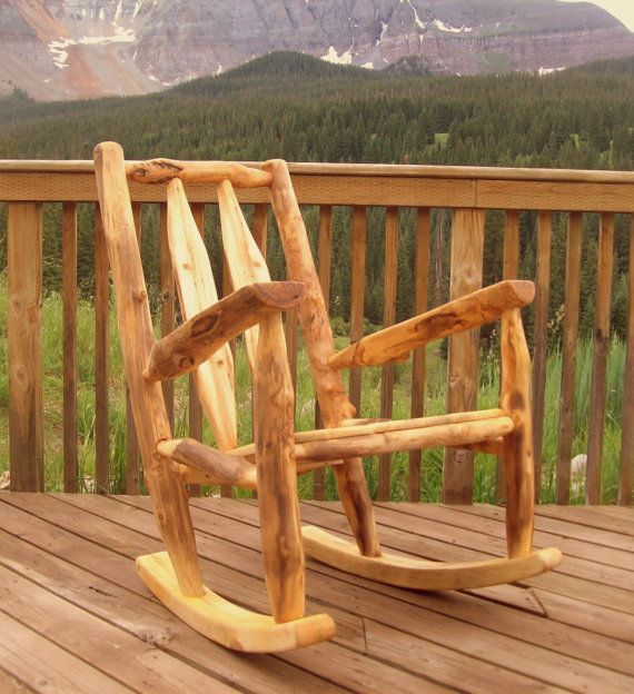 Rocking Chair Made From Sustainable Aspen Logs Rustic Furniture From Naturally Aspen Artesanias Rusticas Muebles Rusticos Troncos De Madera