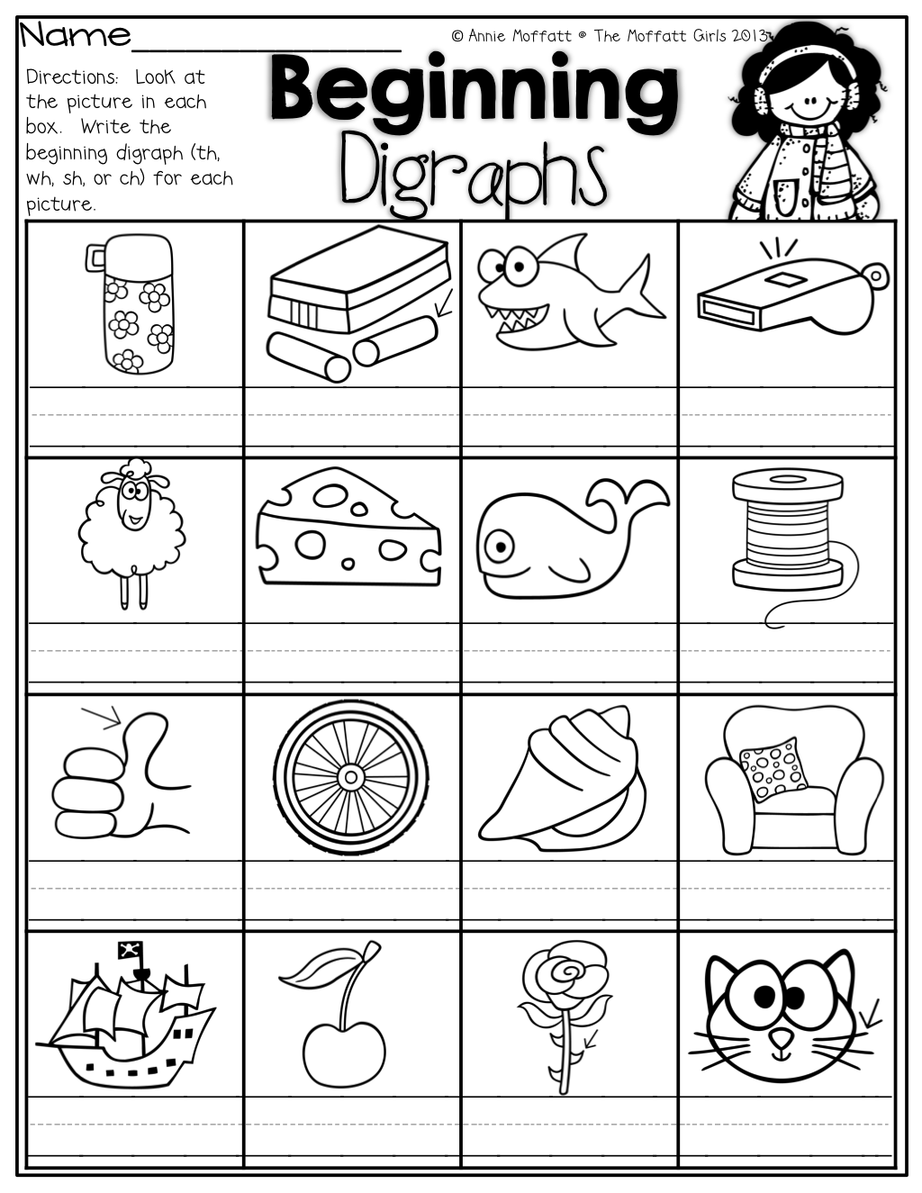 Beginning Digraphs Write The Beginning Digraphs For Each Picture Th Wh Sh Or Ch
