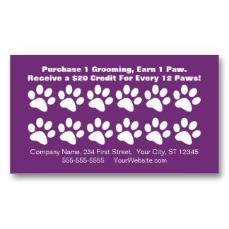 Dog Grooming Customer Loyalty Card Business Card Template Groomers - Loyalty card template