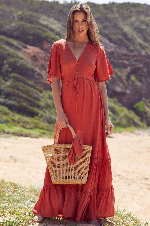 Orange Bohemian Short Sleeved Solid Color Ruffled Stitching Cotton Hem Dress Victoriaswing Maxi Dress Maxi Dress With Sleeves Womens Maxi Dresses [ 1500 x 1000 Pixel ]