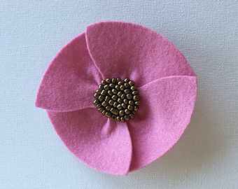 Medium Pink Poppy Flower Brooch, Handmade of Wool Felt, Embroidered with Bronze-hued Seed Beads, Sewn onto an Metal Bar Pin