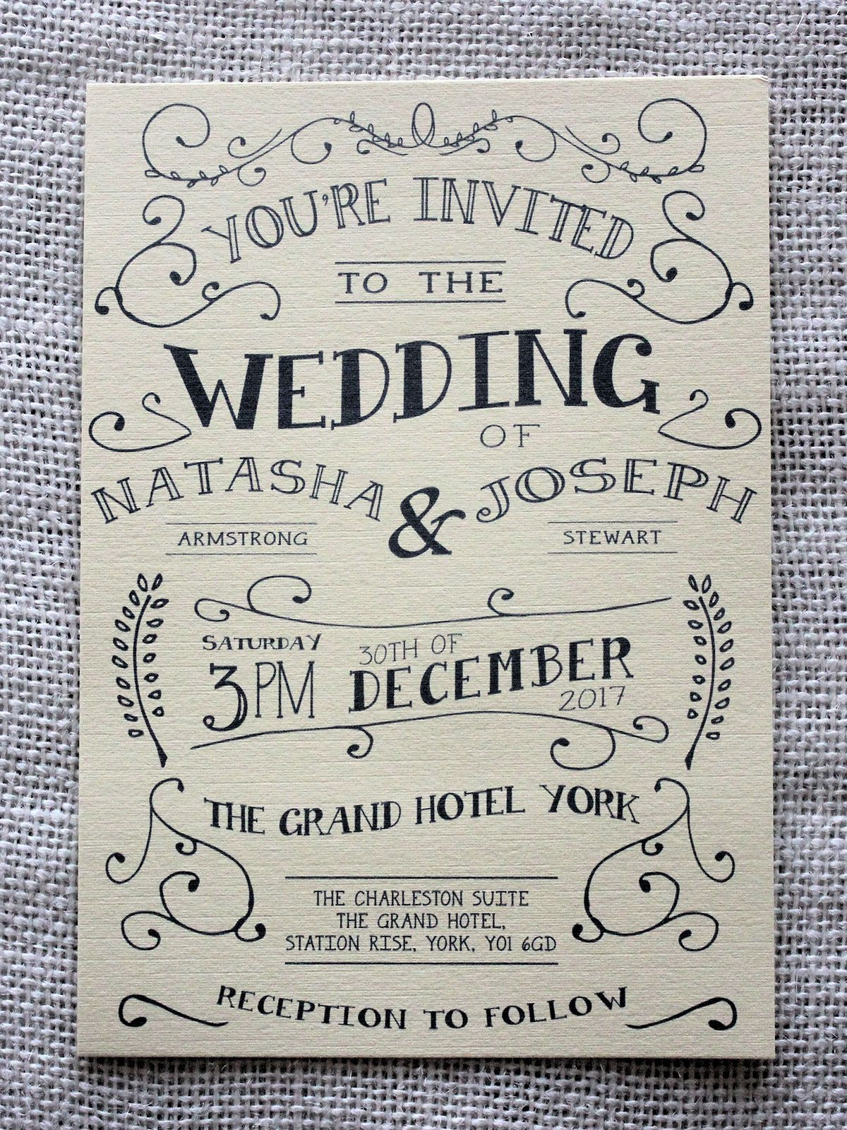 Vintage Shabby Chic Personalised Wedding Invitations: Day Evening ...