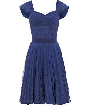 REISS Womens Melia French Navy Pleated Panel Dress