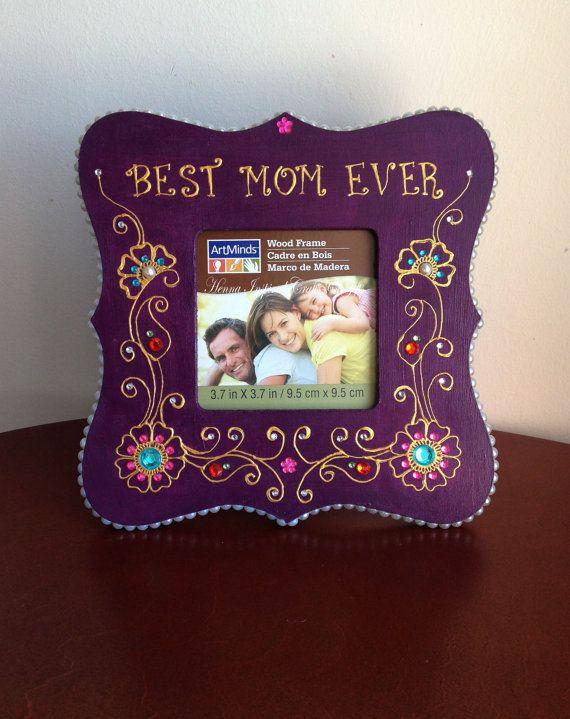Best Mom Ever Purple Frame Henna Inspired Wooden Frame Gift For