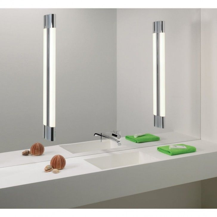 Bathroom white wall paint decoration in modern bathroom design idea with mirror wall lights concrete vanity