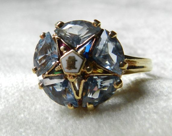 Vintage Order Of The Eastern Star Ring Ladies Masonic Ring 10k Blue Topaz Ring Masonic Ring December Bir Eastern Star Order Of The Eastern Star Blue Topaz Ring