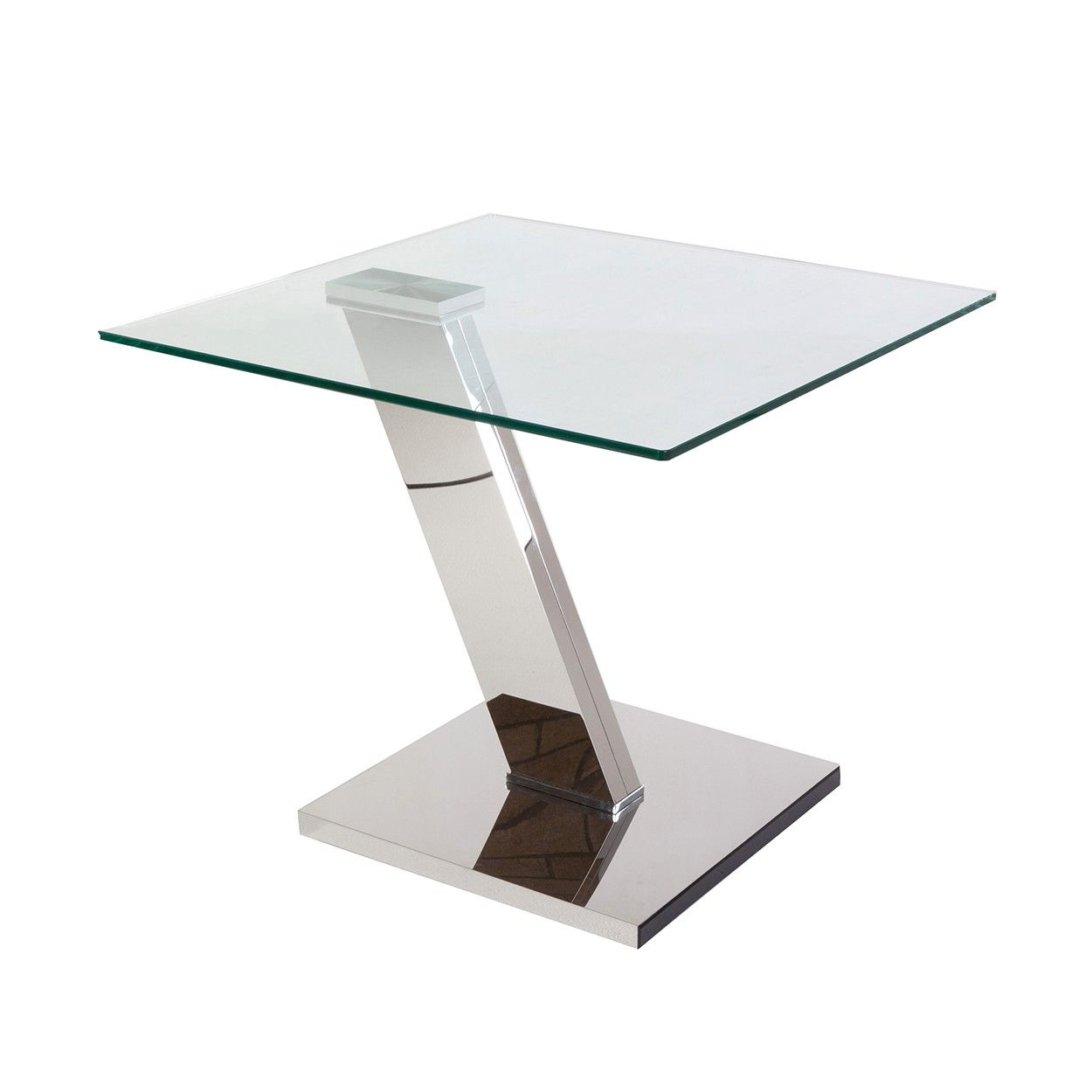 Modern Edge Stainless Steel And Glass Table *Free Local
