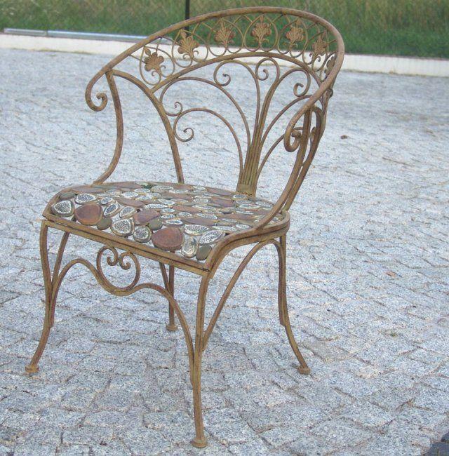 Antik Sessel Gartenstuhl Metall Vintage Shabby Gartensessel