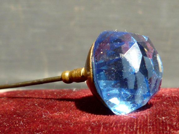 victorian hat pins | Victorian Hat Pin Blue Glass French Antique Long Pin Cut Glass.