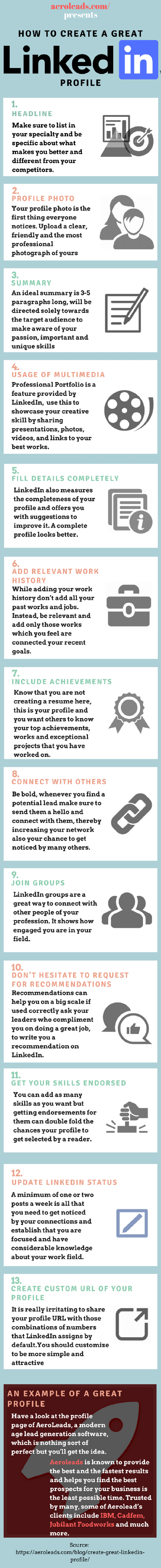 How to Create a Great LinkedIn Profile #infographic http://bit.ly/2mvUxoF