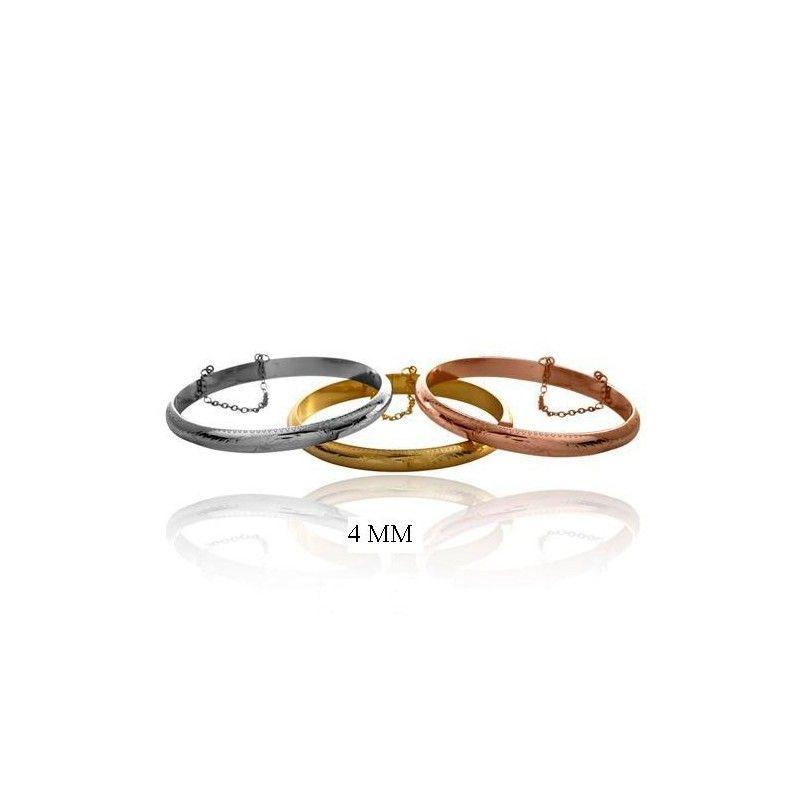 Pulsera de plata de primera ley estilo brazalete de media caña de 4 mm de ancho y color a elegir rodio. oro amarillo u oro rosa