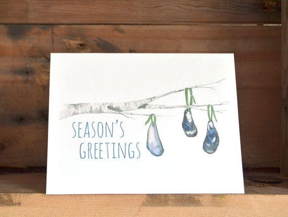Seasons Greetings Birch & Mussel Shell Ornaments by kaitcreative, $4.00