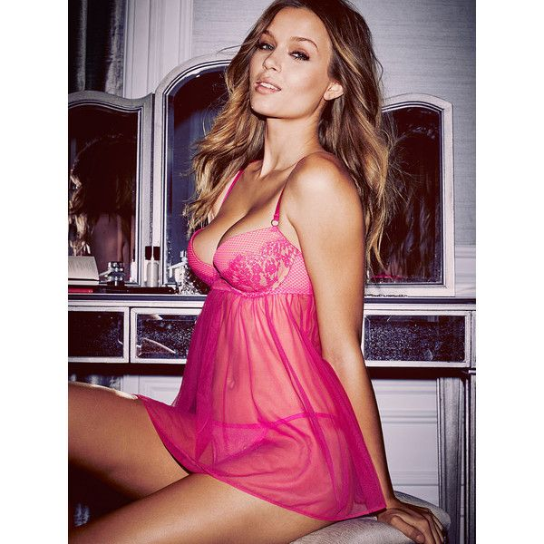 63bd73eb7 Victoria s Secret Lace   Mesh Push-Up Babydoll Lingerie ( 50) ❤ liked on  Polyvore featuring intimates