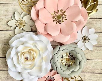 Set of 10 Paper Flowers Wall Decor - Paper Flowers Girls Nursery - Paper Flower Art (code:#141)