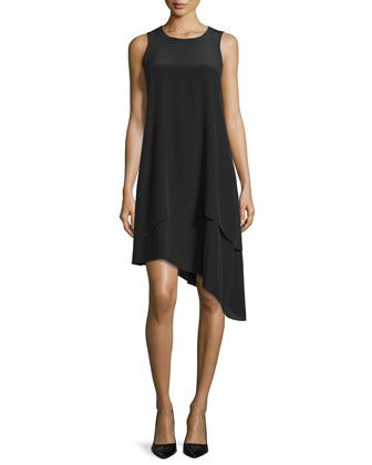 Double-Layer+Silk+Dress,+Black+by+Eileen+Fisher+at+Neiman+Marcus.