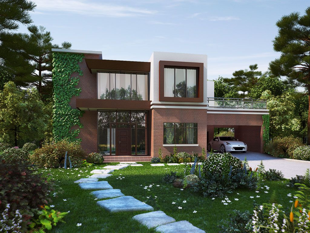 modern house brick design