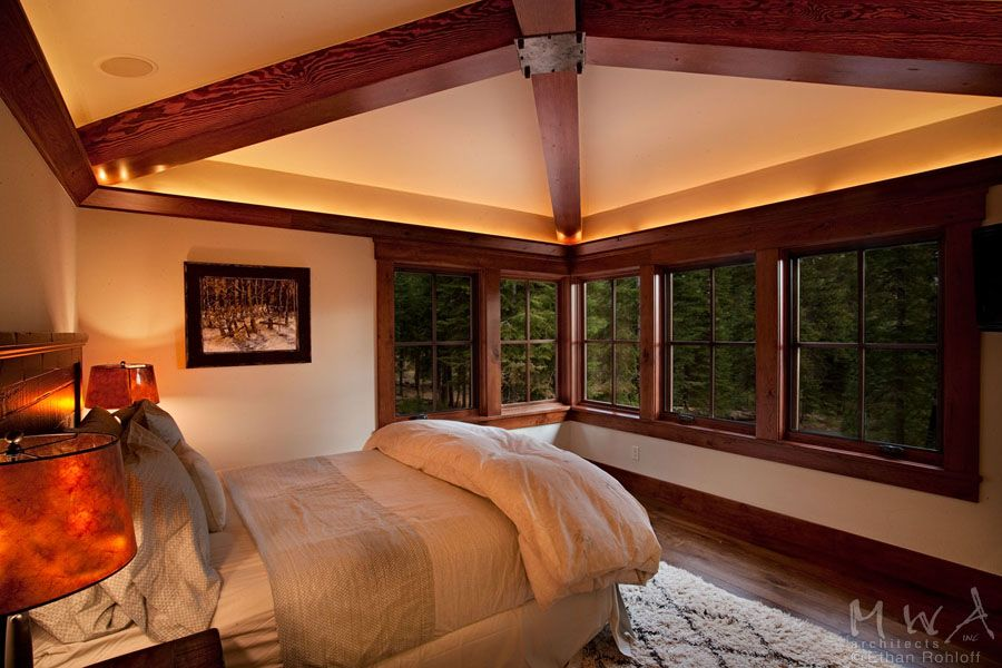Exposed Wood Hip Beams With Painted Wallboard Ceiling