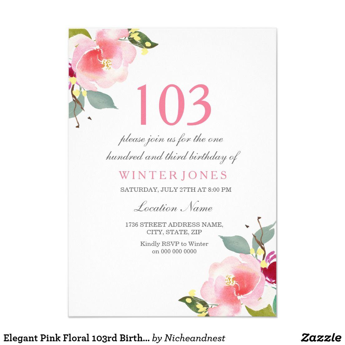 Elegant pink floral 103rd birthday party invite birthday shop sweet peach pink flower birthday party invite created by nicheandnest filmwisefo