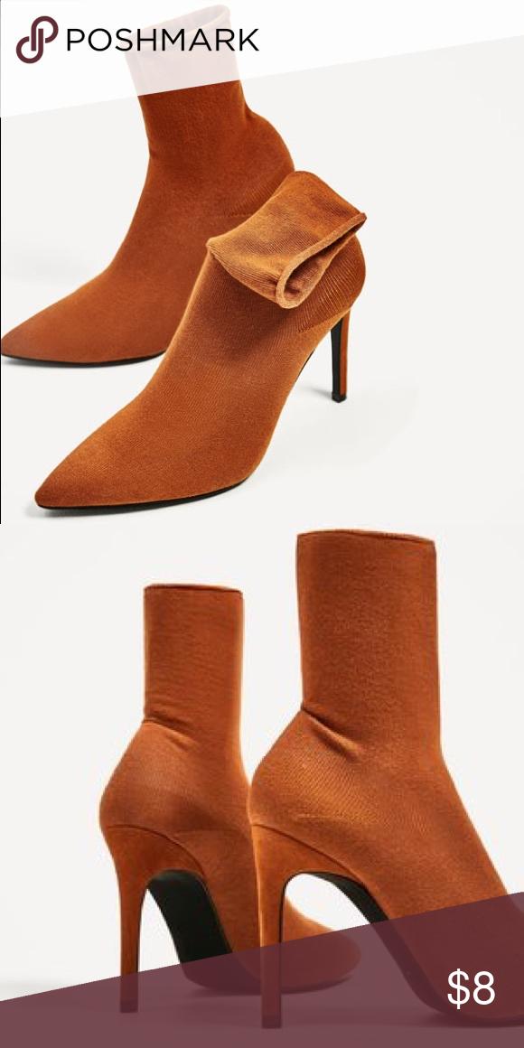 Zara burnt orange sock heels.   Socks