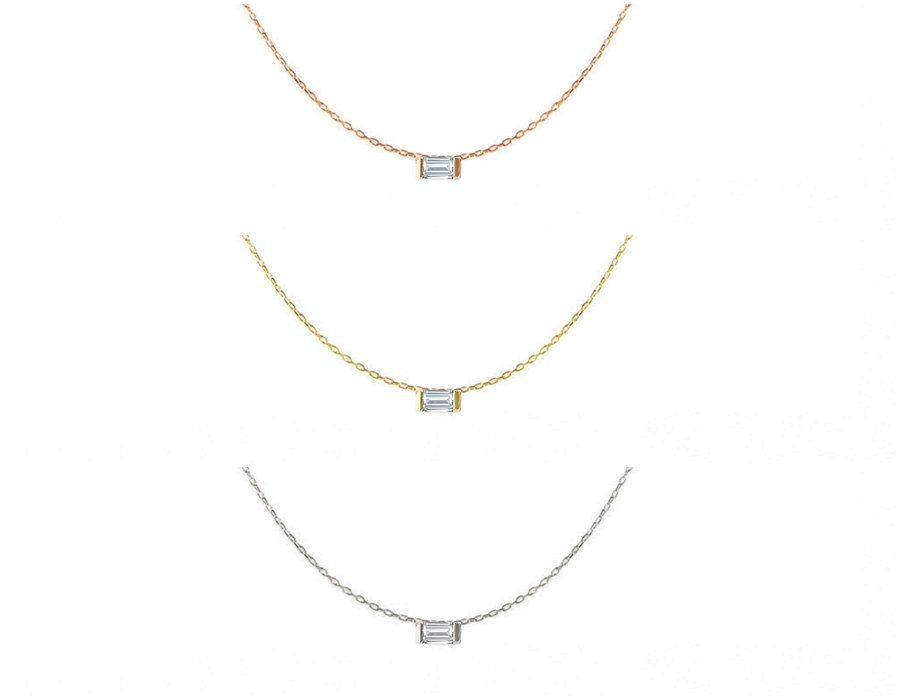 Tiny Baguette Necklace - Mini Baguette Necklace - Gold Filled Baguette Necklace - Simple Baguette Necklace - Silver Baguette Necklace by GULIAN on Etsy