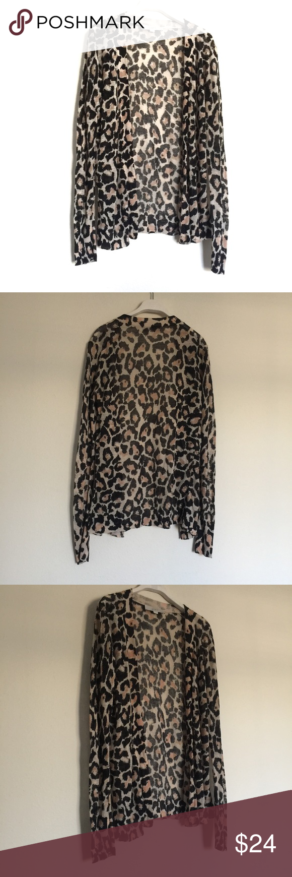 LOFT brown black leopard print open cardigan small Great condition ...