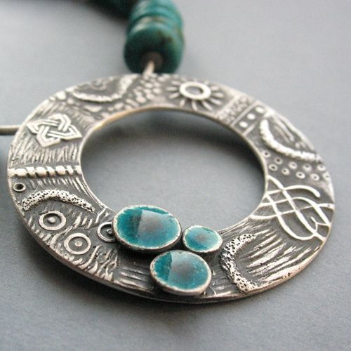 Turquoise Lakes Pendant by Anna Fidecka........