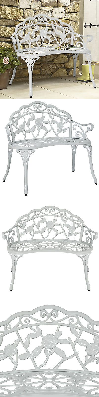 Benches 79678: Bcp Outdoor Patio Garden Bench Park Yard Furniture Cast Iron  Antique Rose White